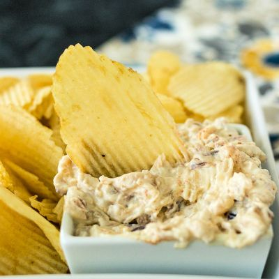 photo of healthy onion dip in a square bowl with a chip sitting in the center