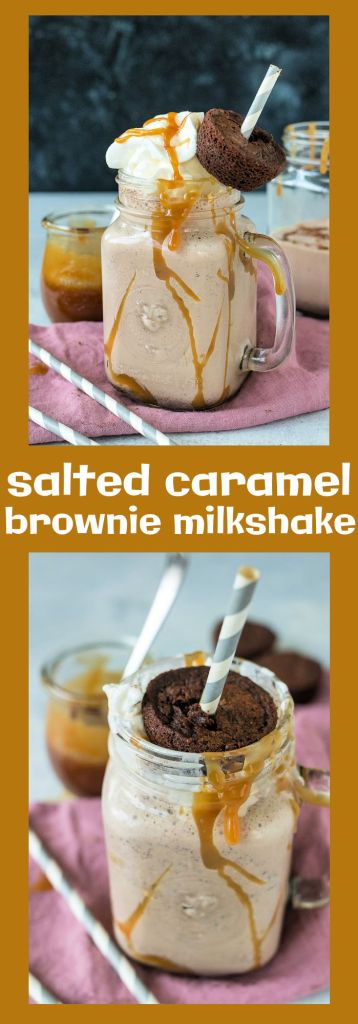collage of photos of salted caramel milkshake with descriptive text