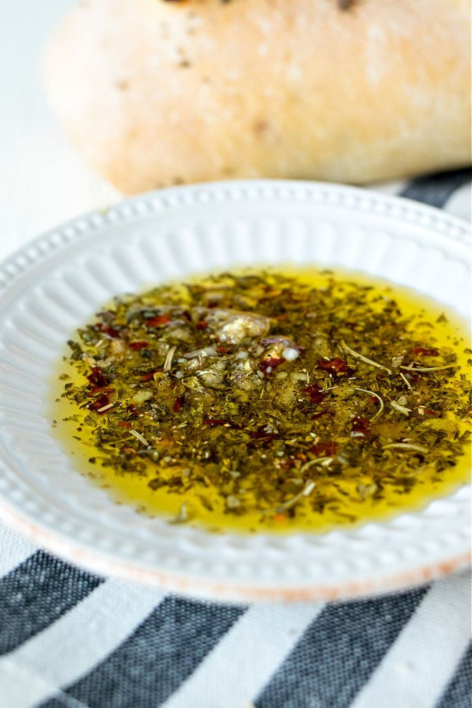 small plate of parmesan herb dipping oil