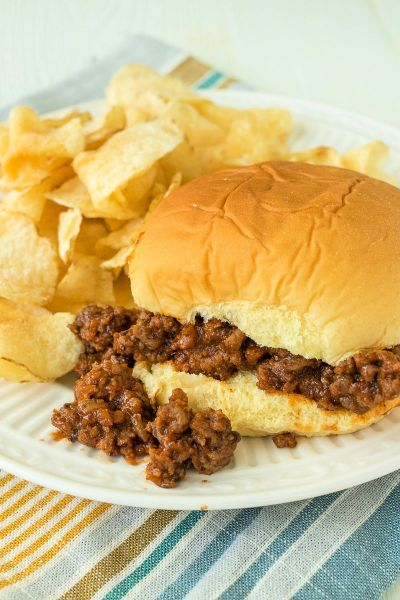 sloppy joe sitting on a plate with kettle chips