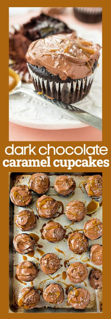 collage of pictures of dark chocolate caramel cupcakes with descriptive text