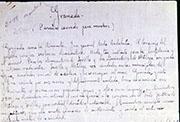 Imagen del manuscrito «Granada: (Paraíso cerrado para muchos», 1928. Colección Fundación Federico García Lorca.