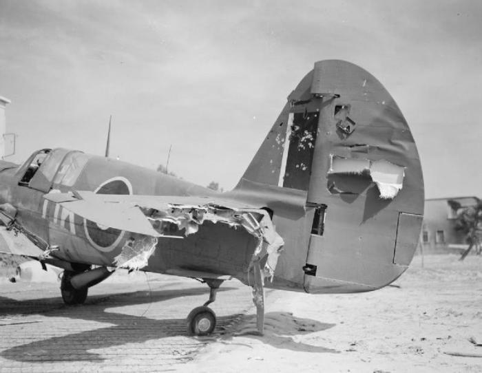 La coda danneggiata di un Curtiss Kittyhawk Mark IV, FX529, del 450° Squadron RAAF, che è stato trasportato di nuovo alla base di Milano Marittima, dal comandante di Squadriglia J.C. Doyle, dopo essere stato colpito dal fuoco antiaereo durante un attacco. L'edificio che si vede dietro è un angolo della colonia Varese.