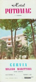 Depliant dell'Hotel Potomac. Prima vi era Villa Berné e dopo l'Istituto Alberghiero di Milano Marittima