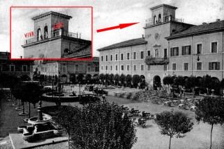 Il Palazzo del Comune con la scritta VIVA DUCE durante il ventennio fascista