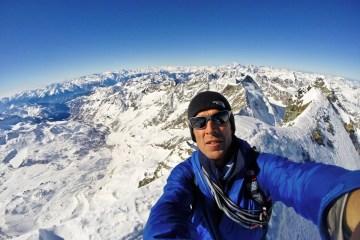 Summit of Matterhorn, Hervé Barmasse selfie credits Hervé Barmasse