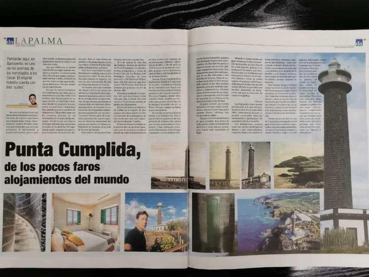Artículo sobre el Faro de Punta Cumplida en el Diario de Avisos