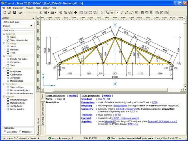 cesdb structural design roof truss design truss4