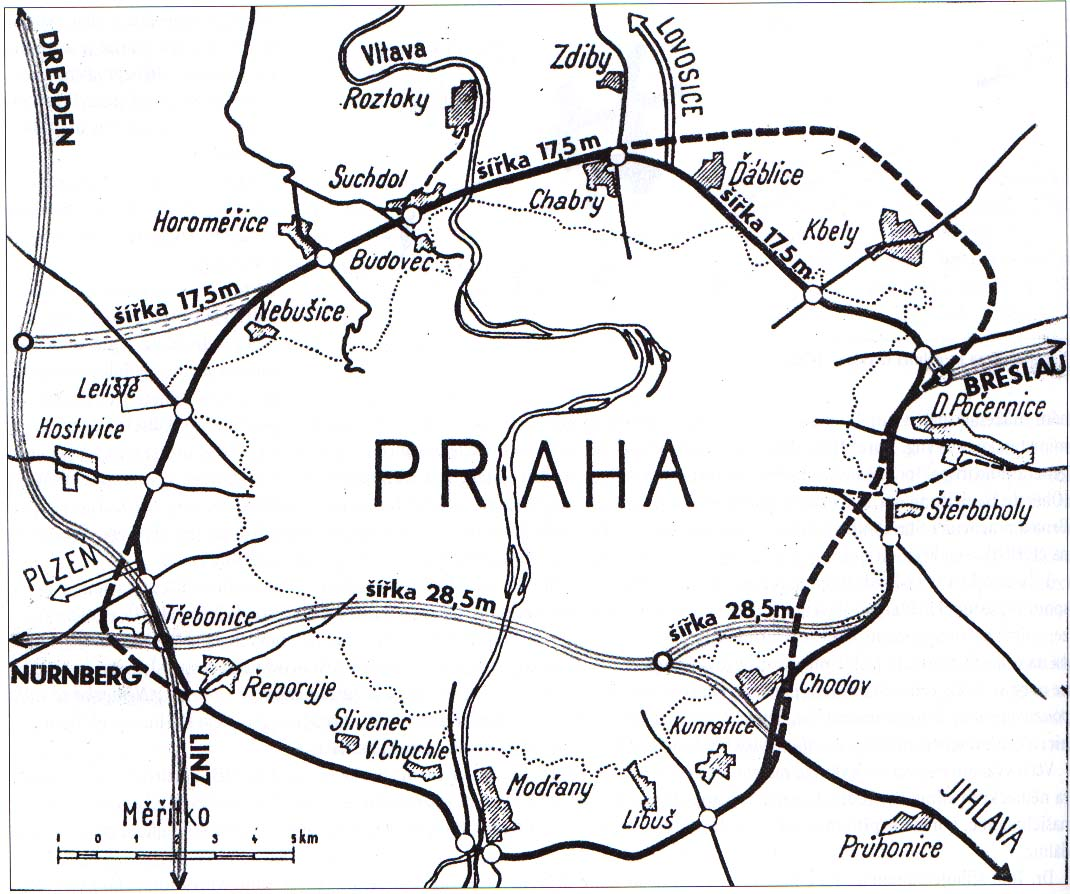 Proposals for the route of the prague ring road czech variant and german tangent