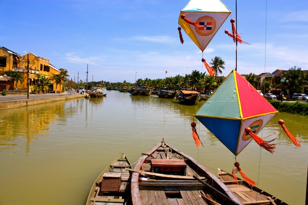 View from the bridge of the river in Hoi An, Vietnam