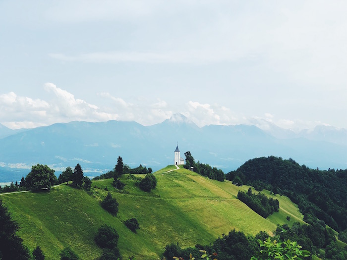Jamnik Church on a mountain in Slovenia