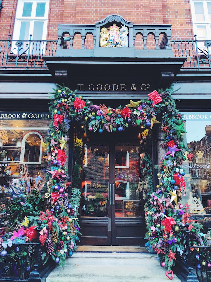 Door decorated for Christmas in London
