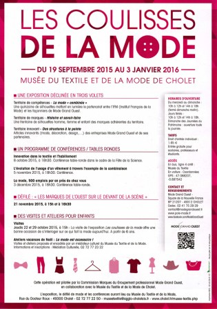 Programme Les Coulisses de la Mode_Musée du Textile à Cholet