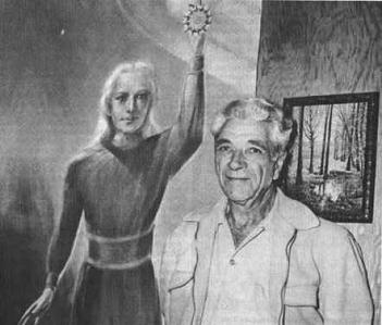 George Adamski com um quadro de Orthon