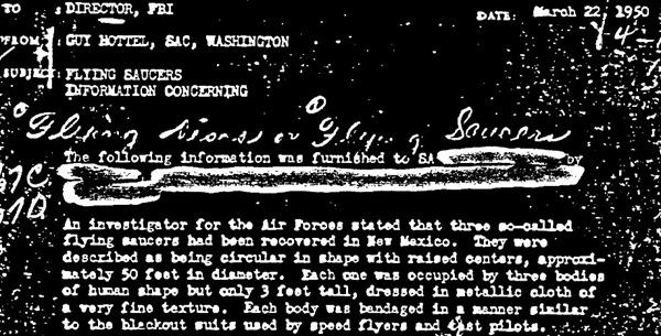 FBI confirma o caso Roswell? O memorando Guy Hottel
