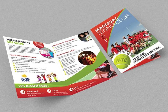 Mockup de la plaquette de présentation du Magnoac Tennis Club réalisée par le CETIR