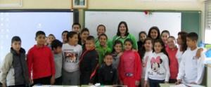 Jugadoras del Carmelitas, ayer en el CP  Rosalía de Castro