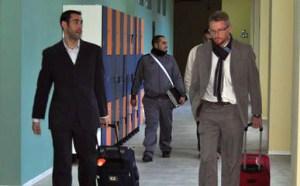 Los árbitros gaditanos, a su llegada al pabellón Guillermo Molina