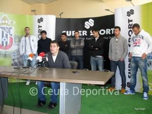 Jaime y sus compañeros, durante la comparecencia de prensa de este mediodía