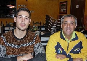 Dani Cabezón junto a su entrenador Suso Méndez
