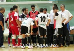 Salvador Pérez 'Shure', el primero por la derecha, durante un partido de la UA Ceutí FS