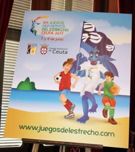 Imagen del cartel anunciador de los Juegos Deportivos del Estrecho, el día de su presentación