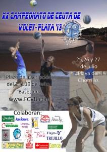 Cartel anunciador del XX Campeonato de Ceuta de voley playa 2013