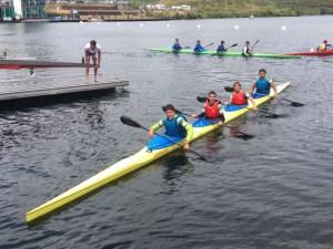 El K-4 de Los Delfines, antes de afrontar la final en la que se hizo con la medalla de plata