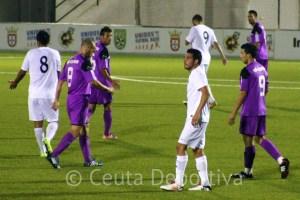 Borja Gil, durante el amistoso de este miércoles entre la AD Ceuta FC y la Balona