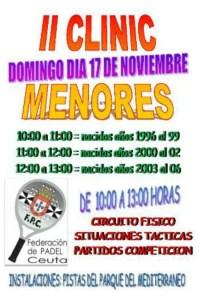 Cartel anunciador del II Clínic de Menores de la Federación de Pádel Ceuta