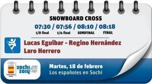 Programa del martes de la prueba de snowboard cross de los Juegos Olímpicos de Sochi