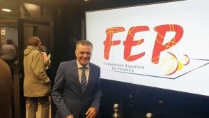 El presidente de la Federación de Petanca de Ceuta, Antonio León, este sábado en Madrid