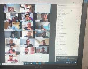 Una imagen de la reunión telemática celebrada por directivos, técnicos y jugadores del Ceutí