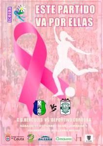 El CD Hércules ha dedicado el cartel del partido a la Asociación de Mujeres Mastectomizadas de Ceuta