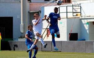Pablo García, máximo artillero del Ceuta con cuatro goles, en el partido ante el Xerez DFC