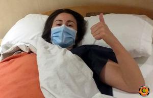María Morilla, tras ser intervenida de la rodilla