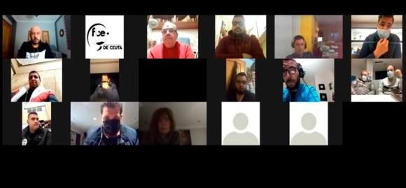 Un momento de la reunión telemática entre la FFCE y los clubes / Foto: FFCE