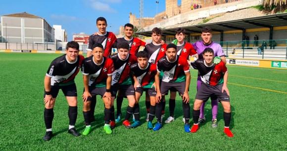 Formación del Sporting de Ceuta, este miércoles en el José Benoliel