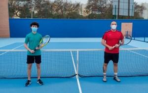 Imagen previa a uno de los partidos de la V Liga de Tenis de Ceuta