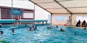Una imagen del partido disputado en la piscina del Caballa