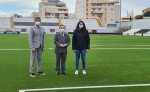 García Gaona, Vivas y Miranda, este miércoles sobre el césped del estadio Alfonso Murube