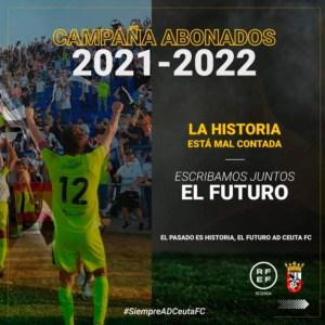 Cartel anunciador de la campaña de abonos de la AD Ceuta FC para la próxima temporada