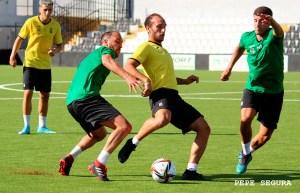 Un lance del partidillo disputado este sábado en el estadio Alfonso Murube