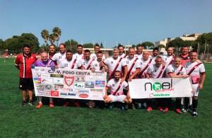 Los integrantes del CF Foso Ceuta en el campo El Juncal de El Puerto de Santa María