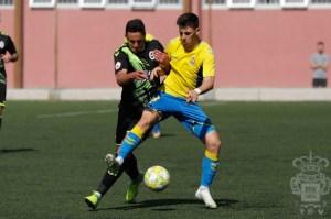 Alberto Reina, en un partido de su etapa en Las Palmas Atlético