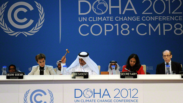 The fast with his gavel Qatari chairman of COP 18
