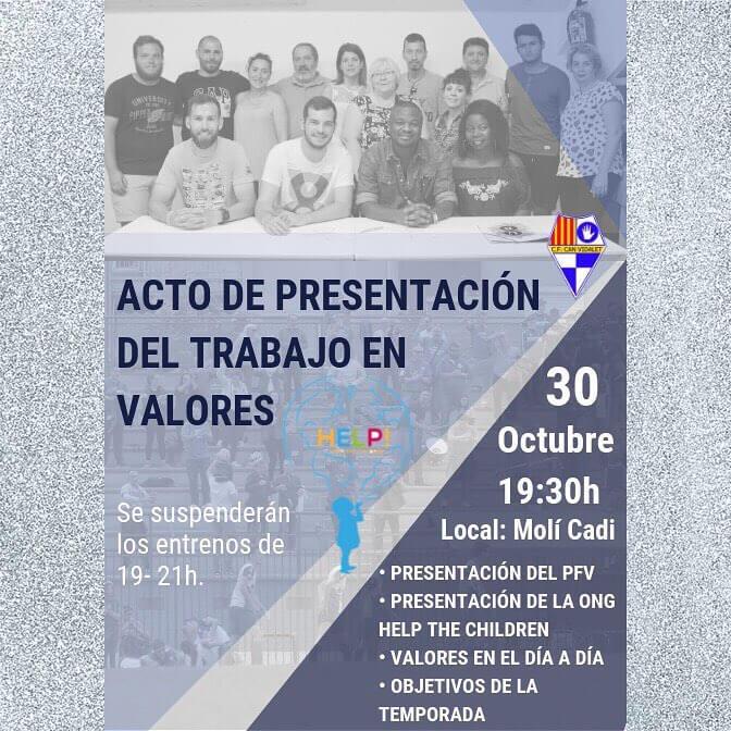 Acto de Presentación Trabajo en Valores. 19.30 Molí Cadí.  PICA PICA AL FINALIZAR EL ACTO.  #cfcanvidalet  #esplugues  #valorsfutbol  #canvidalet  #orgulloysentimiento