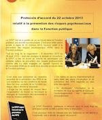 CFDT-Fonctions publiques. Protocole d'accord du 22 octobre 2013 relatif à la prévention des risques psychosociaux dans la Fonction publique. Fiches pratiques