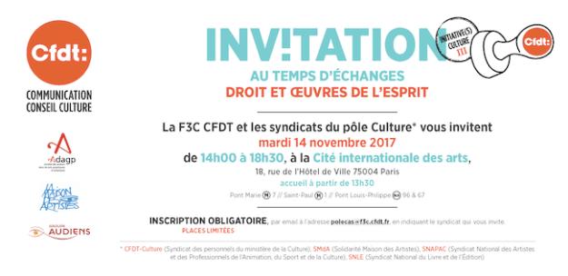 F3C CFDT - Intiative(s) Culture du 14 novembre 2017 : droits et oeuvres de l'esprit