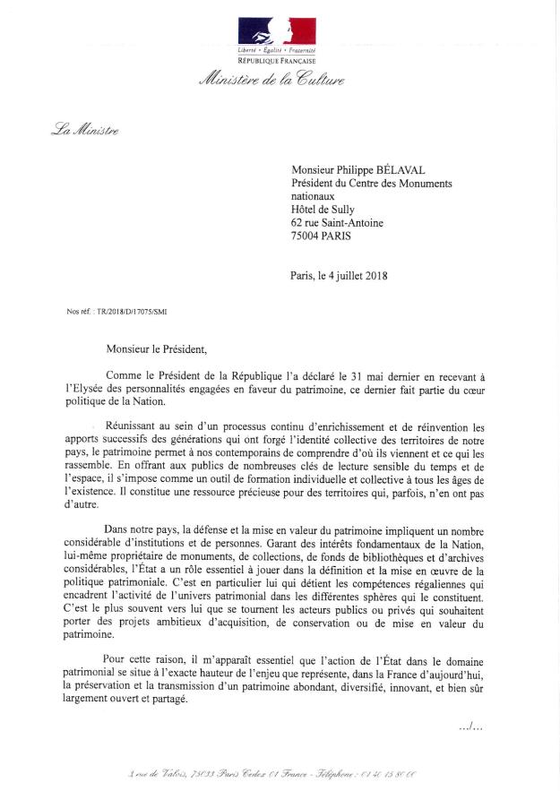 Lettre de mission adressée par Françoise Nyssen à Philippe Bélaval page 1